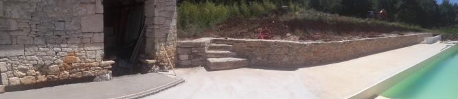 Création d'un escalier et d'un mur de soutènement à joint vif - Commune de Baladou (46)